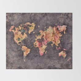 world map 68 Throw Blanket