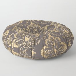 Gold foil swirls damask #10 Floor Pillow
