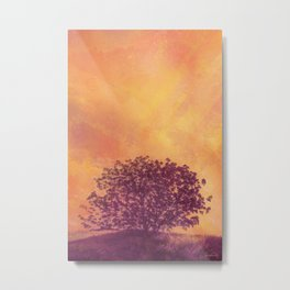 Red Violet Lone Tree and Fall Sunlight Metal Print