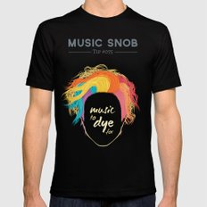 Music to DYE for — Music Snob Tip #075 MEDIUM Black Mens Fitted Tee