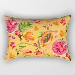 Tropical Fruit Festival in Yellow | Frutas Tropicales en Amarillo Rectangular Pillow