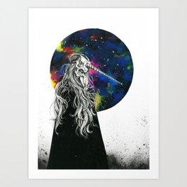 Unicorn girl Galaxy version Art Print