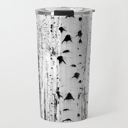 Black and White Aspen Trees Travel Mug