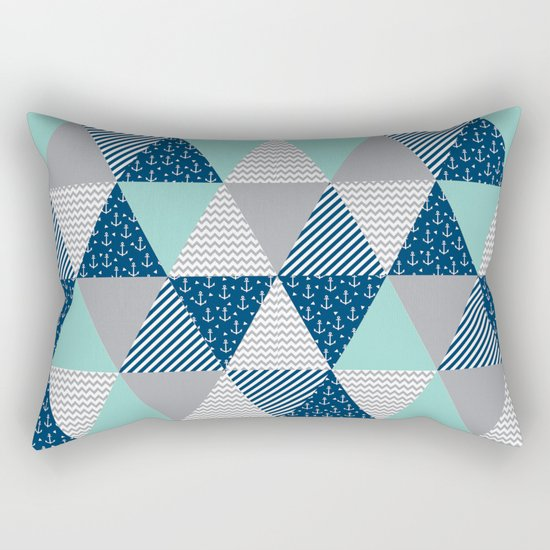 Triangle quilt pattern navy grey and white minimal modern basic nursery Rectangular Pillow