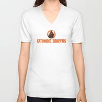 nfl V-neck T-shirts featuring Tattooine Browns - NFL by Steven Klock