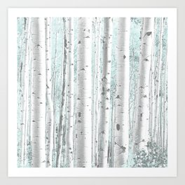 Pale Birch and Blue Kunstdrucke