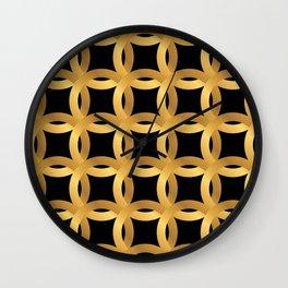 Art Deco-Like Pattern: 24-Karat Color Lucky Gold Chips Wall Clock
