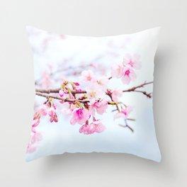 Japanese cherry-blossom tree, 'Oh-kanzakura' Throw Pillow