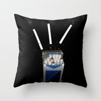 cigarettes Throw Pillows featuring Cigarettes by Courtney Decker