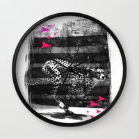 runner Wall Clocks featuring speed runner by frederic levy-hadida