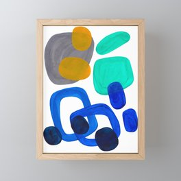 Minimalist Abstract Mid Century Modern Expressionist Organic Pattern Colorful Blue Aquamarine Teal Framed Mini Art Print