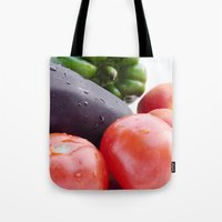 vegetables Tote Bags featuring Vegetables by Carlo Toffolo