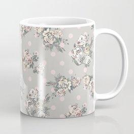 Vintage chic artistic pink ivory polka dots floral Coffee Mug