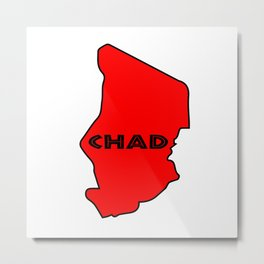 Chad Silhouette Map Metal Print