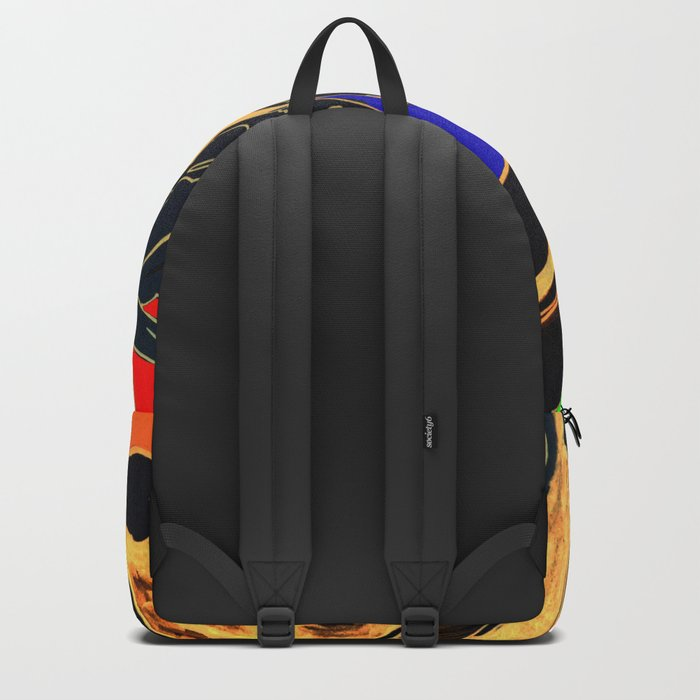 Blue Green Orange Black and Gold, Stand Up Red Backpack