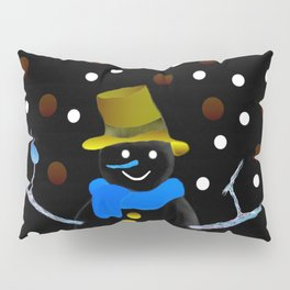 Snowman in the night Pillow Sham