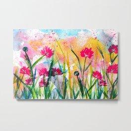 Flower Field Pink Blossom Metal Print