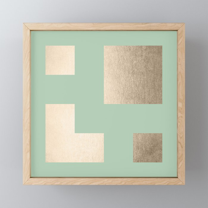 Simply Geometric White Gold Sands on Pastel Cactus Green Framed Mini Art Print