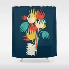 Hedgehog with flowers Shower Curtain