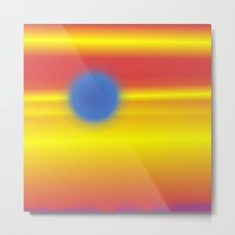 blue sun in a red and yellow sky Metal Print