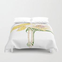 Art Nouveau Poppy Duet by Seasons K Designs Duvet Cover