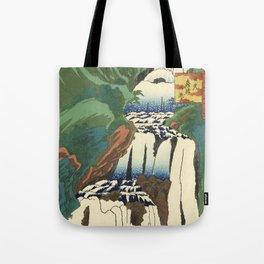 Japanese Woodblock - Waterfall - Utagawa Hiroshige Tote Bag