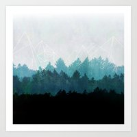 triangle Art Prints featuring Woods Abstract  by Mareike Böhmer