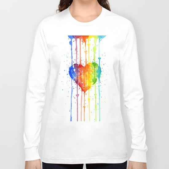 Heart Rainbow Watercolor Love Wins Colorful Splatters Long Sleeve T-shirt