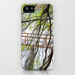 RAINY SPRING DAY AT THE DOCK IN THE WOODS iPhone Case