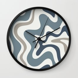 Liquid Swirl Abstract Pattern in Neutral Blue Gray on Off White Wall Clock