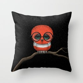 Baby Owl with Glasses and Austrian Flag Throw Pillow