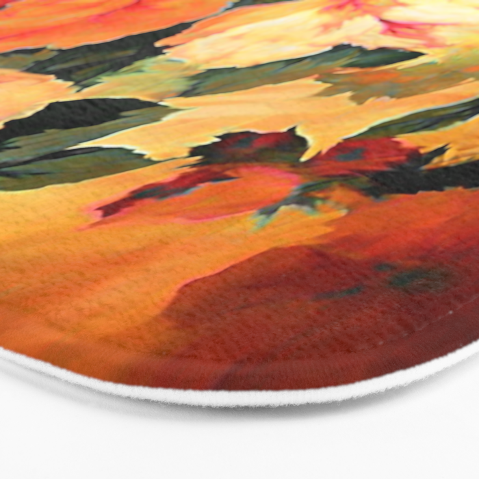 Vintage Painterly Floral Abstract Bath Mat