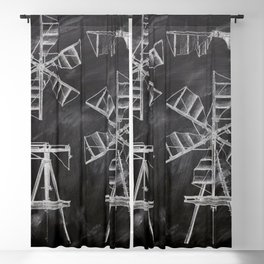 steampunk western country chalkboard art agriculture farm windmill patent print Blackout Curtain