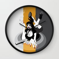 mia wallace Wall Clocks featuring Miss Wallace by Arian Noveir