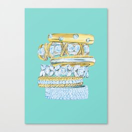 Golden Rings on Blue Canvas Print