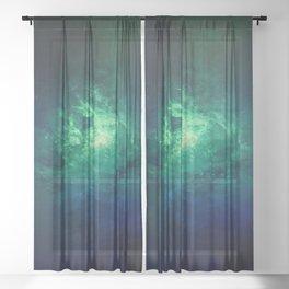 Green Nebula Space Sheer Curtain