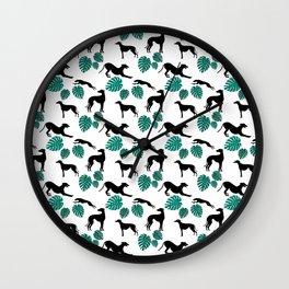 Greyt Greyhound Monstera on White Wall Clock