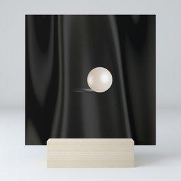 Perfect white Pearl on Black satin Mini Art Print