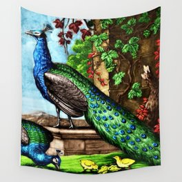 The Peacocks Landscape Painting by Jeanpaul Ferro Wall Tapestry