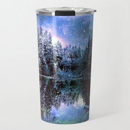 A Cold Winters Night : Violet Teal Green Winter Wonderland Travel Mug
