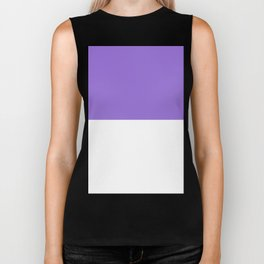 White and Dark Pastel Purple Horizontal Halves Biker Tank