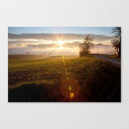 Sun on countryside Canvas Print