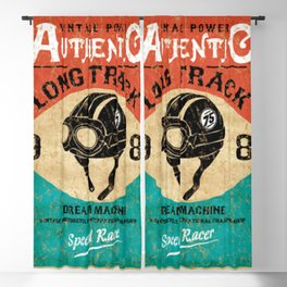 Vintage Hand drawn Motorbike Race 1982 Blackout Curtain