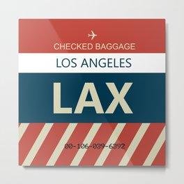 LAX Los Angeles, CA Airline Baggage Tag Metal Print