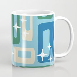 Retro Mid Century Modern Abstract Pattern 223 Blue Green and Beige Coffee Mug
