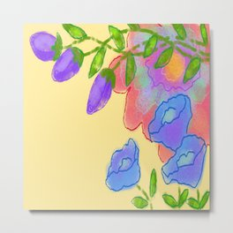 Colorful Abstract Digital Floral Painting Metal Print