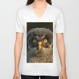Baby great gray owl Unisex V-Neck