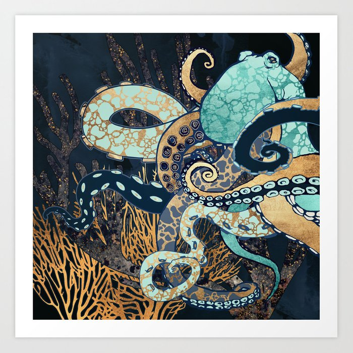 Metallic Octopus II Art Print