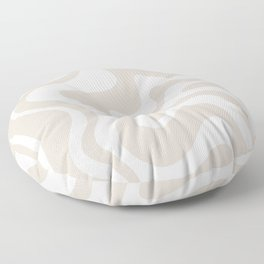 Liquid Swirl Contemporary Abstract Pattern in Mushroom Cream Floor Pillow