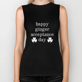Happy Ginger Acceptance Day Funny St Patricks Clover Biker Tank